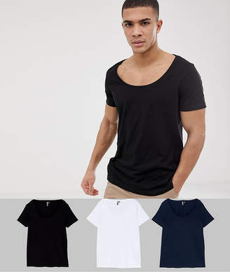 Asos Design T-Shirt With Scoop Neck 3 Pack Save