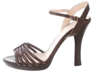 Max Mara Embossed Ankle Strap Sandals