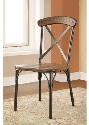 Furniture of America Engal Industrial Cross-Backed Dining Chair, Bronze, 2pk
