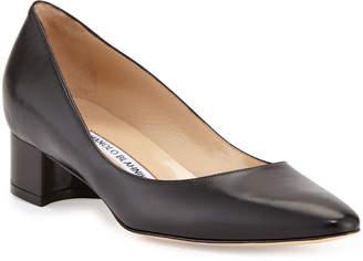 3611a56b00e Manolo Blahnik Listony Leather Low-Heel Pump