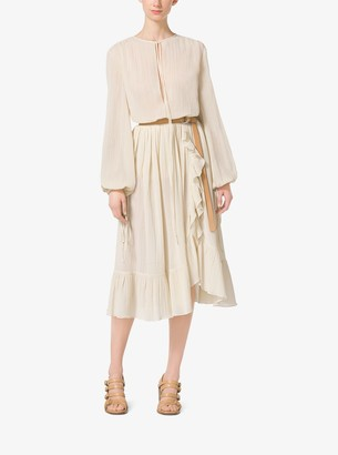 Michael Kors Ruffled Cotton-Crepon Skirt