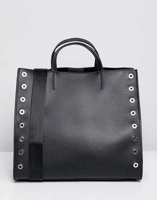 Pull&Bear Studded Shopper In Black