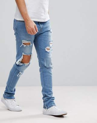 Diesel Deepzip Lightwash Jeans with Rips