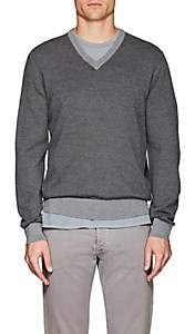Fioroni Men's Diagonal-Jacquard Mélange Wool-Cashmere Sweater - Gray