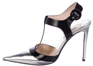 Prada Pointed-Toe T-Strap Pumps