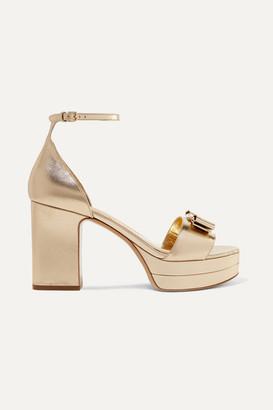 Salvatore Ferragamo Eclipse Bow-embellished Metallic Leather Platform Sandals - Gold
