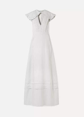 Calvin Klein Cape-effect Striped Silk And Cotton-blend Maxi Dress - White