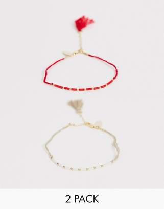 Orelia Seedbead & Tassel Bracelet 2 Pack