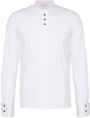 Wales Bonner Contrast button mandarin collar stripe unisex shirt