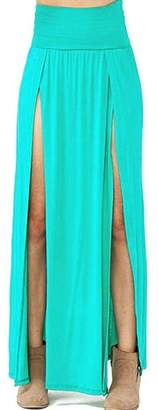 VIVICASTLE Women's Sexy High Waisted Double Slits Open Knit Long Maxi Skirt