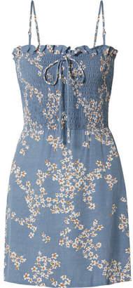 Faithfull The Brand Marni Shirred Floral-print Crepe Mini Dress
