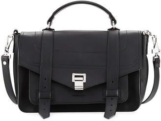 Proenza Schouler PS1 Medium Leather Satchel Bag, Black