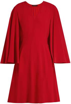 Alexander McQueen V-neck leaf-crepe cape dress