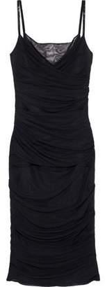 Versace Bead-embellished Ruched Mesh Slip Dress