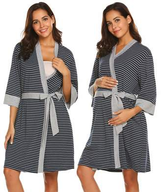 Ekouaer Maternity Robe Nursing Bathrobe 3/4 Sleeve Breastfeeding Delivery Gowns