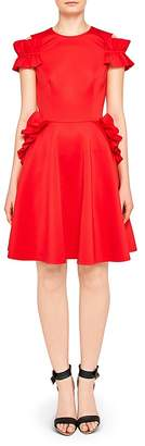 Ted Baker Deneese Ruffled Cold-Shoulder Dress