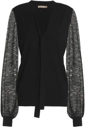 Michael Kors Pussy-Bow Lace-Paneled Merino Wool Sweater