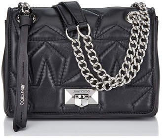 Jimmy Choo HELIA SHOULDER/S Black and Silver Star Matelasse Nappa Shoulder Bag with Chain Strap