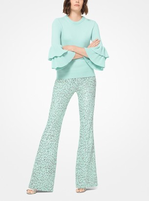 Michael Kors Leopard Sequined Stretch-Tulle Flared Pants
