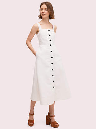Kate Spade Button Front Midi Dress, Fresh White - Size 0