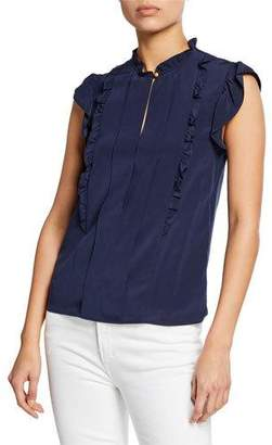 Tory Burch Ruffle Cap-Sleeve Silk Shell Top