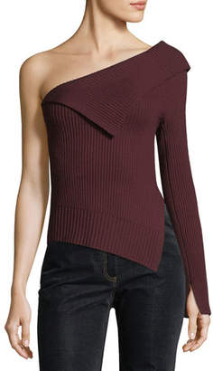 Theory Off-the-Shoulder One-Sleeve Harmony Wool Knit Sweater