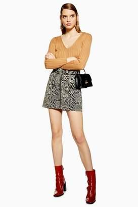 53f8da9fbccb01 Topshop Womens Snake Print Buckle Denim Skirt