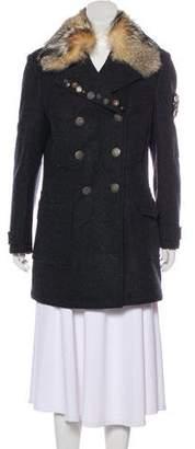 Prada Sport Fur-Trimmed Wool Coat