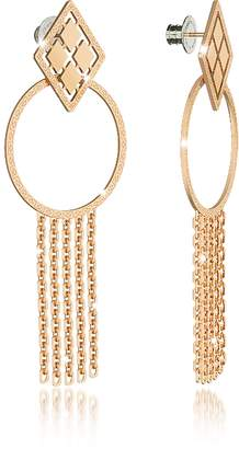 Rebecca Melrose Yellow Gold Over Bronze Drop Hoop Earrings w/Chain Fringes