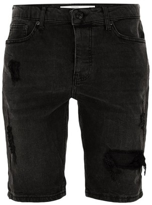 Topman Mens Black Ripped Denim Shorts