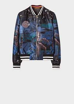 Paul Smith Women's Blue 'Midnight' Jacquard Cotton-Blend Bomber Jacket