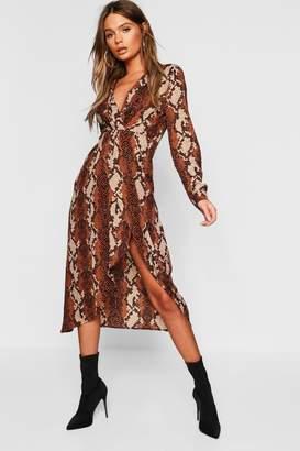 boohoo Petite Snake Wrap Knot Front Midaxi Shirt Dress