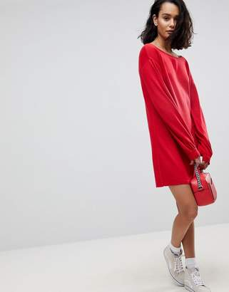 Asos DESIGN Knitted Mini Dress with Slash Neck and Balloon Sleeves