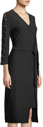 Love Scarlett Crystal Crepe Lace-Sleeve Wrap Dress