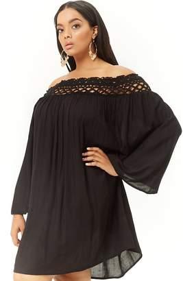 Forever 21 Plus Size Boho Me Off-the-Shoulder Crochet-Trim Dress