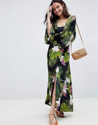 Asos Design DESIGN Dark Tropical Print Long Sleeve Plunge Beach Maxi Dress