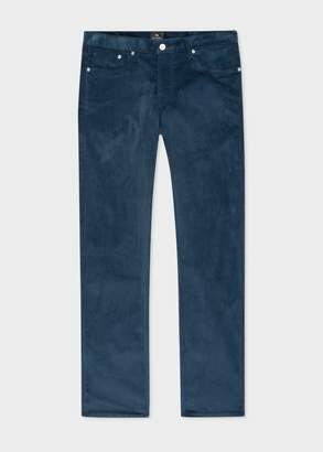 Paul Smith Men's Tapered-Fit Slate Blue Corduroy Trousers