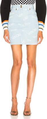 Versace Logo Print Denim Skirt
