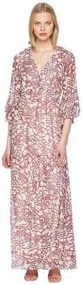 Badgley Mischka Bell Sleeve Boho Leo Maxi Women's Dress