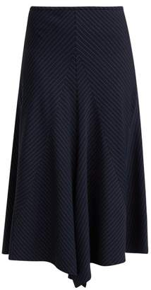 Chloé Tennis Pinstriped Wool Midi Skirt - Womens - Navy Stripe