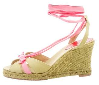 Christian Louboutin Canvas Lace-Up Wedges