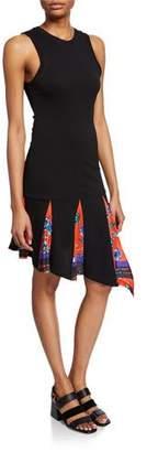 Derek Lam 10 Crosby Asymmetrical Tank Dress with Printed Godet Insert