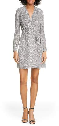 L'Agence Diego Long Sleeve Faux Wrap Dress