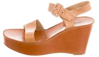 Robert Clergerie Leather Ankle Strap Wedge Sandals