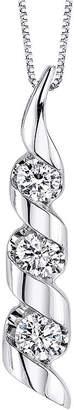 Sirena 1/2 CT. T.W. Diamond 14K White Gold 3-Stone Pendant Necklace