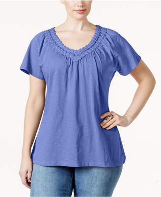 Karen Scott Plus Size Crochet V-Neck Tee