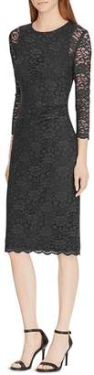 Ralph Lauren Lace Sheer-Sleeve Dress
