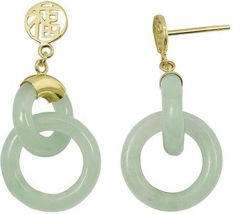 "Jade 10k Gold ""Happiness"" Chinese Symbol Drop Earrings"