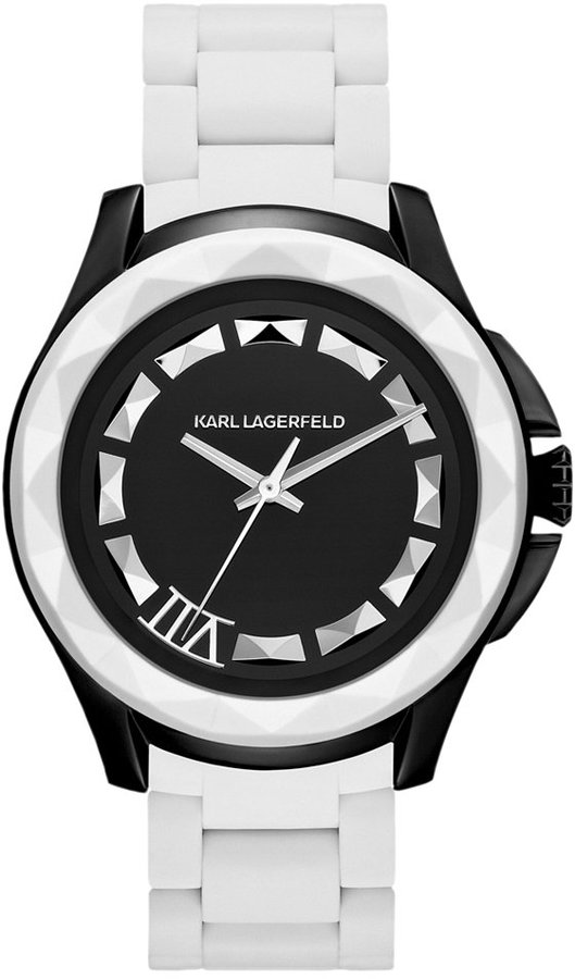 Karl Lagerfeld Unisex White Silicone-Wrapped Stainless Steel Bracelet Watch 44mm KL1015