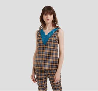 Mulberry Clementine Blouse Autumn Gold Woven Wool Check